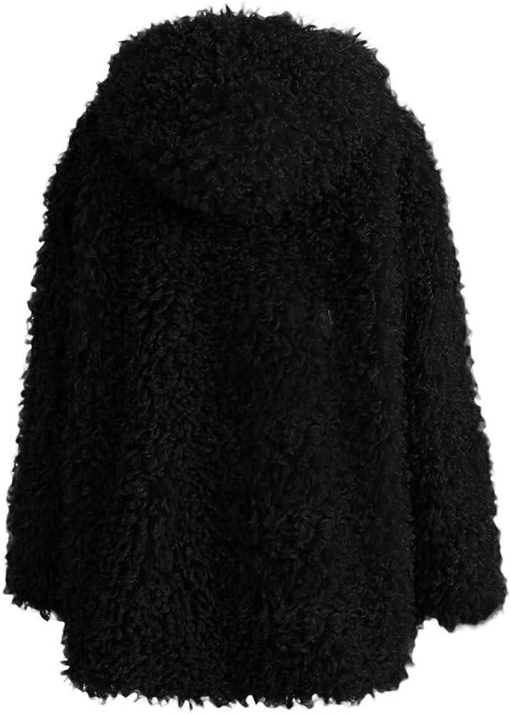 BESSKY Frauen Winter warm Dickes Fell solide Kapuzenmantel Jacke Cardigan Coat Damen Winter Solid Color Kapuzenmantel Fellmantel Schwarz