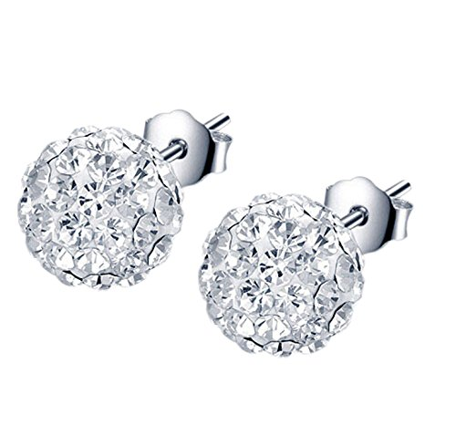 - Easting 8mm/10mm/12mm Sterling Silver Pave Crystal Disco Ball Stud Earrings (12mm)