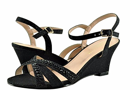 Wedges Field Sparkle Toe Open Womens Blossom Black Strappy 14 Crystal agqad0