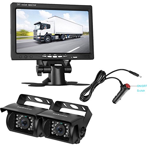 LeeKooLuu 2 Backup Cameras and 7'' Display Monitor Kit System Waterproof Night Vision with Dual 66 ft 4-Pin Cable Wire Single Power Rear View/Full Time View Optional For Truck/Trailers/Campe/Motorhome (Euro Security Truck Wire)