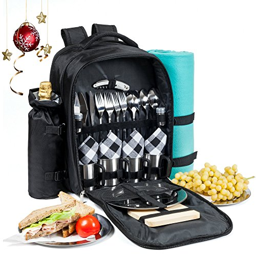 Picnic Backpack for 4 | Premium All-in-One Set w/ Stainless Steel Plates and Cups, Fleece Blanket, Insulated Food & Wine Cooler Bag Compartments, Wine Opener, Cheese Board and more | by Savvy Glamping (Luxury Wine Gift Baskets)