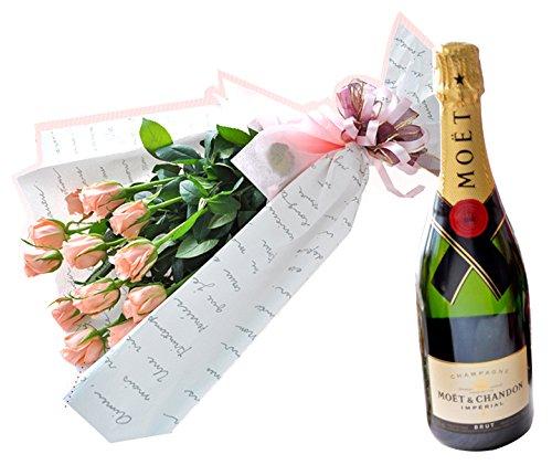 花由 生花 ピンクのバラ 1ダースの花束 と シャンパンのセット <冷蔵便でお届け> B017EJUB5S ピンク ピンク