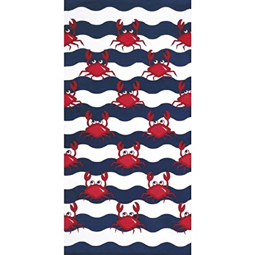 Bahia Collection by Dohler Multi Crabs Brazilian Velour Beach Towel 30x60 Inches