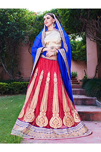 IWS Womens Crimson Color Striking Lehenga Choli With Lace Work 80931