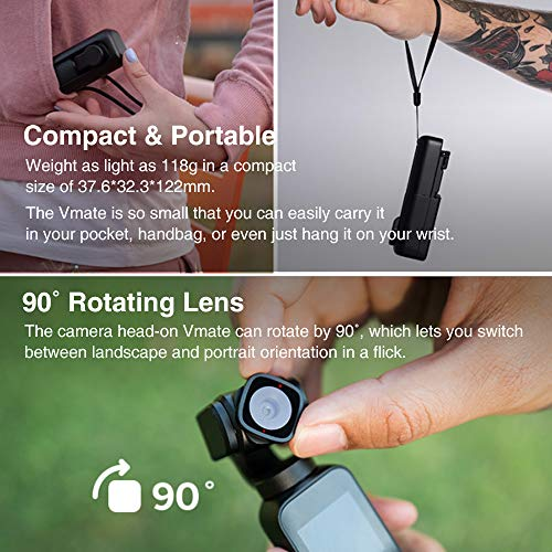 Snoppa Vmate Gimbal Camera 3 Axis Handheld Gimbal Stabilizer with 4K Smart Camera, 200Mbps High Bitrate, H265, 90°Rotating Lens, 220min Runtime, Built-in Mic & Bluetooth Mic, W ND Filter Kit & Bracket
