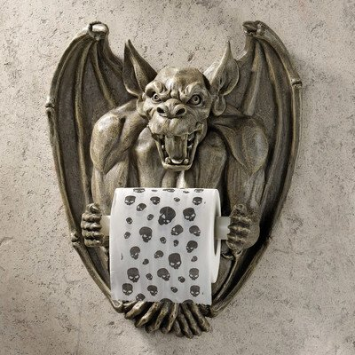 Toilet Paper Holder - Flush the Gargoyle Gothic Bathroom Decor - Toilet Paper Roll - Bathroom Wall (Funny Gargoyles)