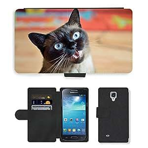 CARD POCKET BOOK CASE PU LEATHER CASE // M00147774 Gato azul lindo de ojos de mascotas // Samsung Galaxy S4 Mini i9190