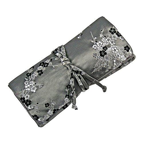 Jewelry Roll Clutch Large - Silk Brocade (Cherry Blsm Gray)