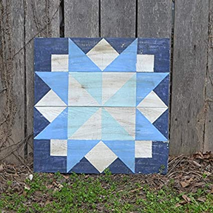 Amazon Com Blue Barn Quilt Sign Square Barn Quilt Patterned Sign
