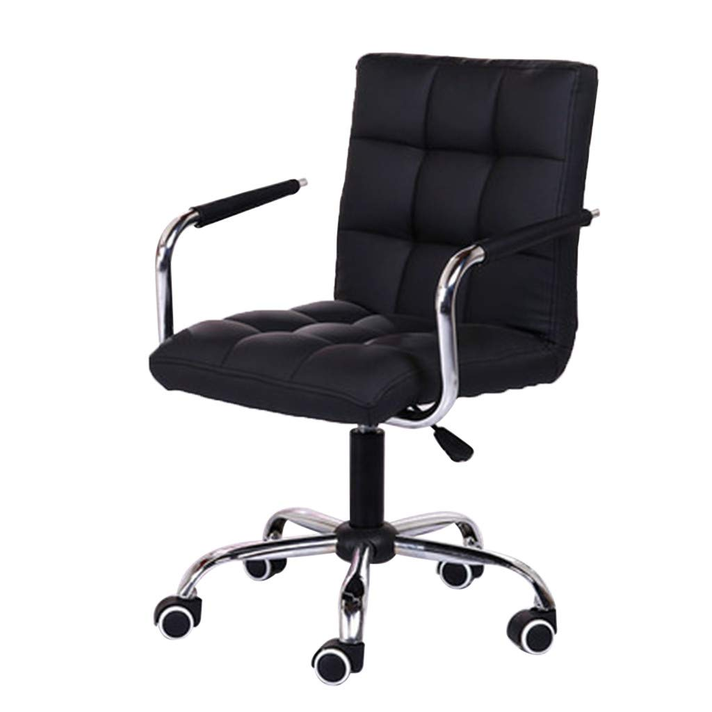 US Fast Shipment Quaanti Modern Adjustable Swivel Mid Back Task Chair with Arms Leather Soft Upholstery Office Chair,Ergonomic Office Work Desk Chair Beauty Salon Chair, Black (Black)
