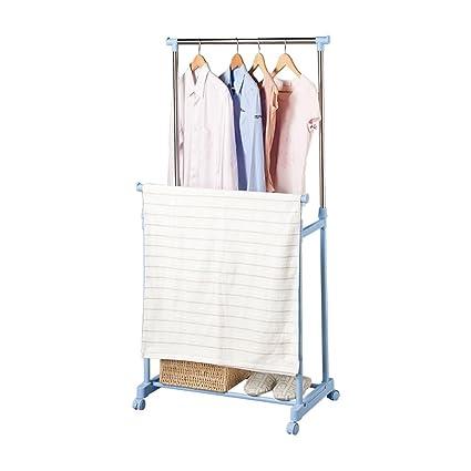 GOTOTOP Heavy Duty Clothes Rack,Adjustable Collapsible Rolling Single Rail Garment Clothes Coat Rack Dryer Hanger Wardrobe Organiser Cloth Rail Storage Shelving