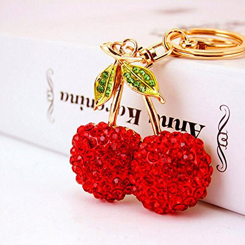 Jzcky Shzrp Cherry Fruit Leaves Crystal Rhinestone Keychain Key Chain Sparkling Key Ring Charm Purse Pendant Handbag Bag Decoration Holiday Gift