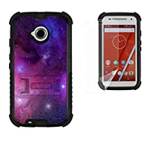 Moto E LTE 2ND GEN Case, XT1527/ XT1511/XT1505, Beyond Cell®[Dirtproof] High Impact Armor Hybrid Hard + Soft Rugged Durable Ultra Strong Phone Case with 3 Layer Maximum Protection & built in kickstand- Galaxy Stars -FREE Screen Protector