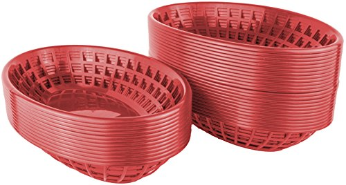 Bear Paw Products - Plastic Food Baskets - Oval Baskets - 36 Pack - Perfect for Fries, Burgers, Sandwiches, and More! by Bear Paw Products