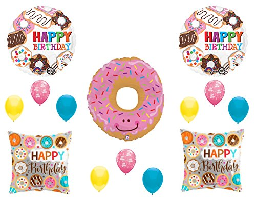 DONUTS Birthday Party Balloons Decoration Supplies 14 pc Doughnut Sweet ()