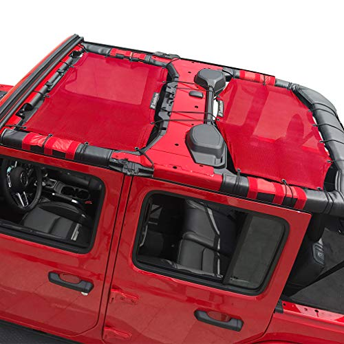 Shadeidea Jeep Wrangler Sun Shade JL Unlimited 4 Door Front and Rear 2 piece-Cherry Red Mesh Screen Sunshade JLU Top Cover UV Blocker with Grab Bag-One time Install 10 years Warranty