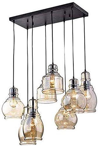 FM-24 Vintage 8-Lights Island Cognac Glass Cluster Pendant Chandelier Antique Black Finish Glass Ceiling Lights for Dining Room, Cafe, Bar