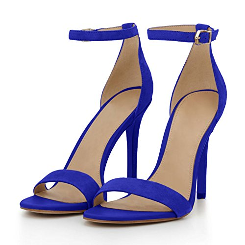 For Suede Women`s Pumps Strap Wedding Stiletto Sandals Party Strappy Onlymaker Heeled A Fashion Ankle blue 6BFczx