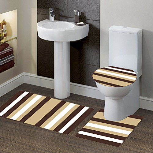 GorgeousHomeLinen (#7) BROWN Striped Style 3pc Bathroom Set Bath Mat Contour and Toilet Lid Cover with Rubber Backing Rugs by Gorgeous Home LINEN