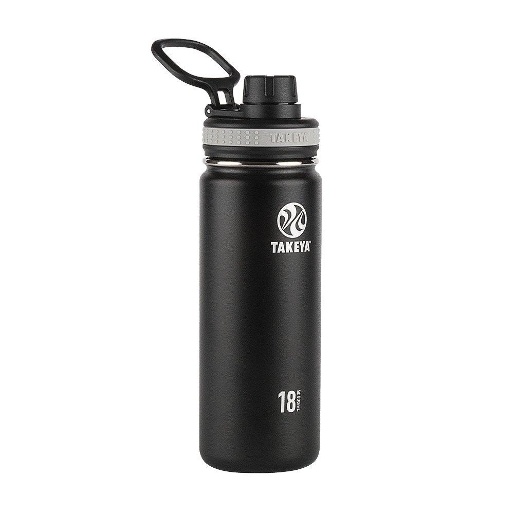 Takeya 50001 Originals Vacuum-Insulated Stainless-Steel Water Bottle, 18oz, Black, 18 oz,