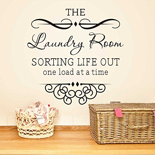 """BIBITIME 17.71"""" x 17.71"""" The Laundry Room Sorting Life Out One Load At a Time Vinyl Wall Decal Quote Sticker Home Decor Art Mural for Bathroom Tile Toilet"""