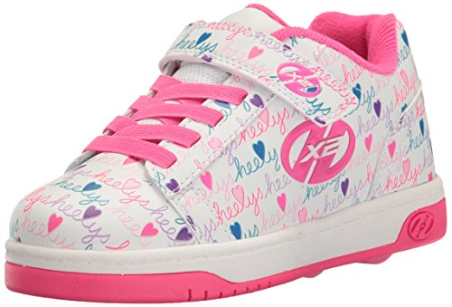 Heelys Girls' Dual up x2 Sneaker, White/Pink/Multi, 1 M US Little Kid by Heelys