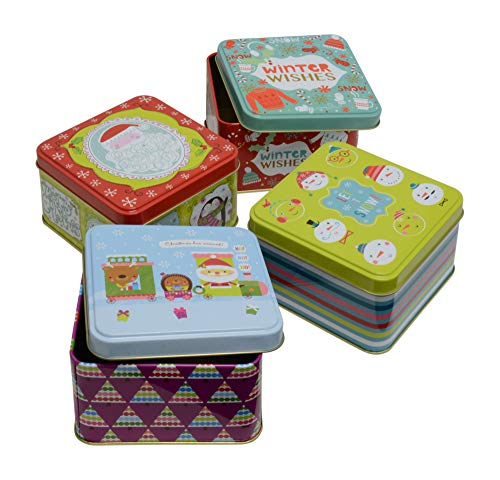 (Christmas Gift Tins, Small Box for Gift Card, Cookies or Candy (Set of 4) (Winter Wishes, Square 4