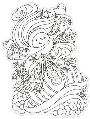Snowman Die Cut Coloring Card - Paper House Blank Note Card ()