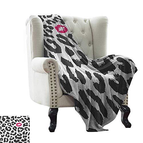 Digital Printing Blanket Safari,Leopard Cheetah Animal Print with Kiss Shape Lipstick Mark Dotted Trend Art, Charcoal Grey Pink Super Soft Light Weight Cozy Warm Plush Hypoallergenic 60