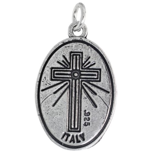 Sterling Silver Holy Family Medal Necklace St Joseph Blessed Virgin Mary & Child Jesus Oval 1.8mm Chain