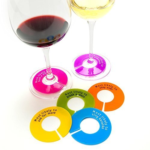Capabunga GW20 GlassWhere Reusable Silicone Wine Glass Identifiers with Slogans, Assorted Bright Colors Collection by CapaBunga (Image #2)