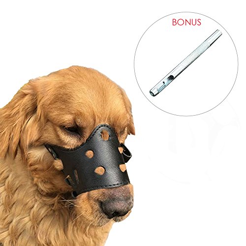 Petsidea Adjustable Leather Dog Muzzle for German Shepherd Bulldog, Secure Anti-Biting Anti-Chewing Barking Boxer Dog Muzzles (Large) -