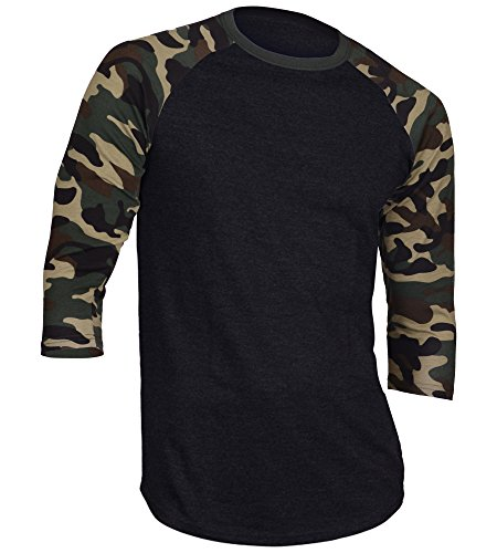 Dream USA Men's Casual 3/4 Sleeve Baseball Tshirt Raglan Jersey Shirt Black/Dk Camo 2XL