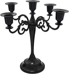 Viscacha 5 Metal Candelabra – Candlesticks Holder for Formal Events, Wedding, Church, Holiday Décor, Halloween – Taper Candle Holder Stand Centerpiece Elegant Decoration Piece for Table,Pure Black