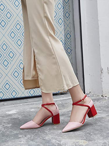 De Puntiaguda Alto Tacon 6cm Women con Gules Singles Cuatro Treinta Zapatos Baotou Tacon Alto 's y KOKQSX Cabeza Rough TwtnEqxc5