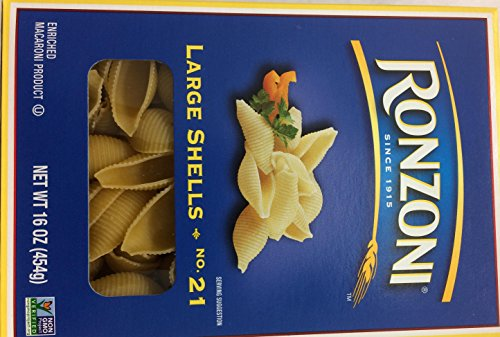Ronzoni Large Shells Non GMO 16 Oz. Pack Of 3.
