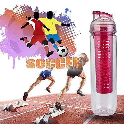 Yu2d  Outdoor Sports Bike Lemon Juice Bottles Fruit Water Bottle Infuser Drinkware(Hot Pink)
