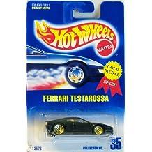 Hot Wheels Ferrari Testarossa Black with Gold Wire Spoke Wheels Blue and White Card 35
