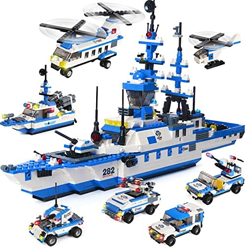 2318 Pieces City Police Building Kit, Military Battleship Building Toy with Police Car Toy, Police Helicopter, Patrol Boat, Best Education Learning & Roleplay STEM Toy Gift for Boys and Girls Age 6-12