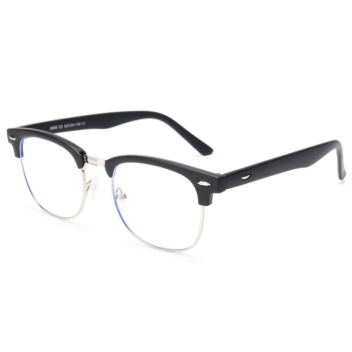 Livhò Blue Light Blocking Glasses,UV400 Transparent Lens,Phone Computer Reading Glasses,Anti Eyestrain/Anti Ray,Sleep Better for Women/Men (Matte Black) LI8056-0.0 Magnification