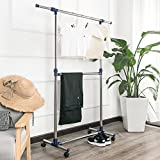 SHELVING SOLUTIONS Adjustable Garment Rack Clothes Rack, Rolling Stainless Steel Clothing Rack(Double Rails)