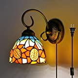 Kiven Tiffany wall lamp E26 1-Light Plug-In bulb not included Wall Sconce glass Shade 6 Foot Black Cord(BD0524)