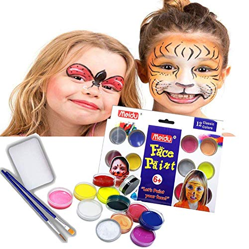 Face Paint Kits for Kids by Meidu - No Skin Damage Non-Toxic Body Paint 12 Vibrant Colors Professional Painting & 2 Brush for Halloween Superbowl Party Suppiles Certified-Safe for Kid's Skin ()