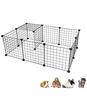 Dotala 12 Panels Metal Pet Playpen Tent Cats Exercise Pen Crate Cage Kennel Dog Foldable Fence Yard BarrierIdeal for Guinea Pigs, Rabbit, Gerbil, Puppy, DIY Metal Wire Yard Fence