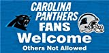 Carolina Panthers Wood Sign - Fans Welcome 12''x6''