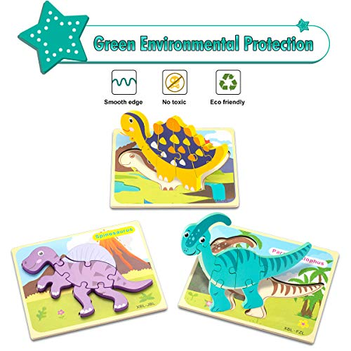 Aywewii 6 Pack Wooden Dinosaur Puzzles for Toddlers Kids 1 2 3 4 Years Old Educational Preschool Toys Gifts for Boys Girls Toddler Puzzles