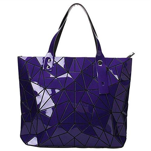 New Fashion Bag Women Casual Tote Fold Handbag Laser Geometric Designer Handbags Ladies Shoulder Bag High Quality (Purple Color)