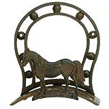 Western Horse Hose Holder, Rustic Cast Iron, Fancy Wall Hanger Reel, 12-inch