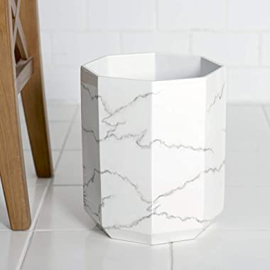 Allure Home Creation Marble Effect Trash Can - Small Wastebasket, Garbage Bin for Bathroom,Bedroom and Office