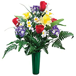 "OakRidge Bright Spring Memorial Bouquet Silk Floral Indoor/Outdoor Décor, 23"" High 40"